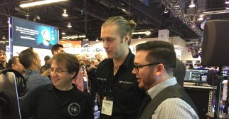 Sonicsmiths founders, Sam Estes (left) and Michael Hobe (Middle) show off The Foundry to Christopher Harris at the Big Fish Audio booth at The NAMM Show 2016.