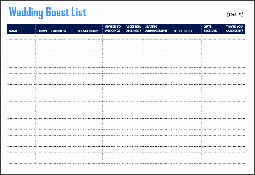 10 Free Printable Wedding Guest List Template