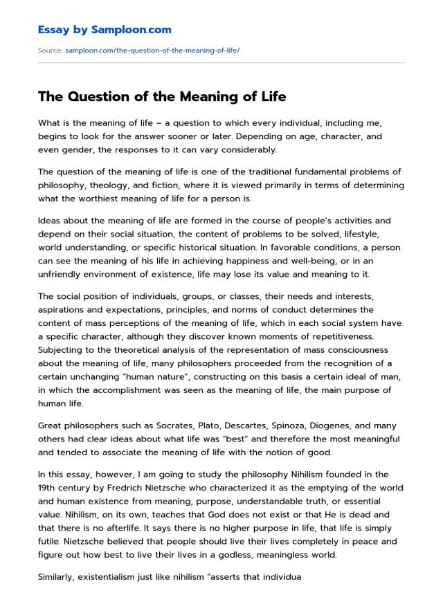 The Question of the Meaning of Life Free Essay Sample on Samploon.com
