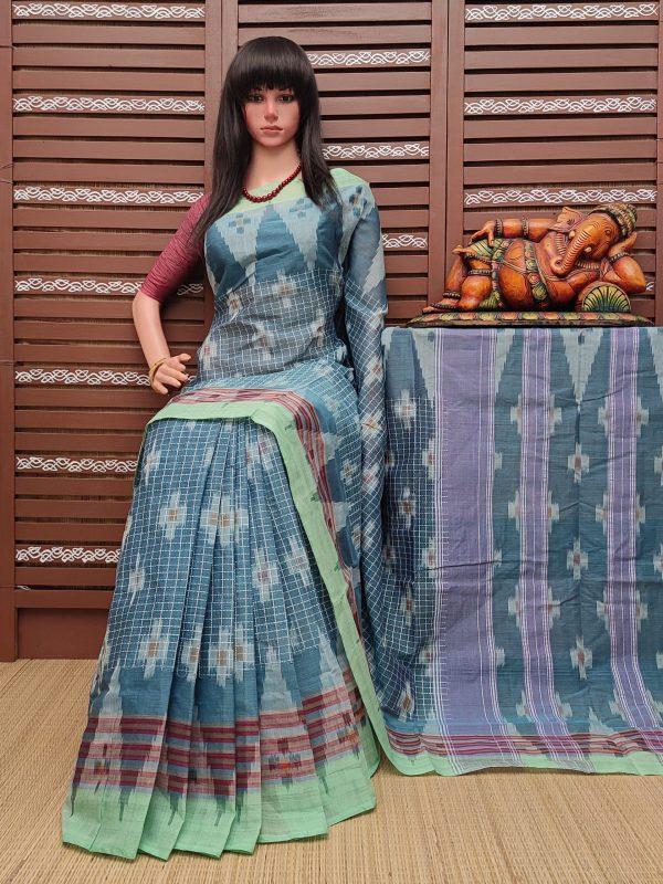 Kausudhi - Ikkat Mutyam Gadi Cotton Saree