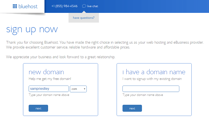 bluehost domain name start a blog