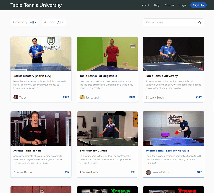 table tennis university video course