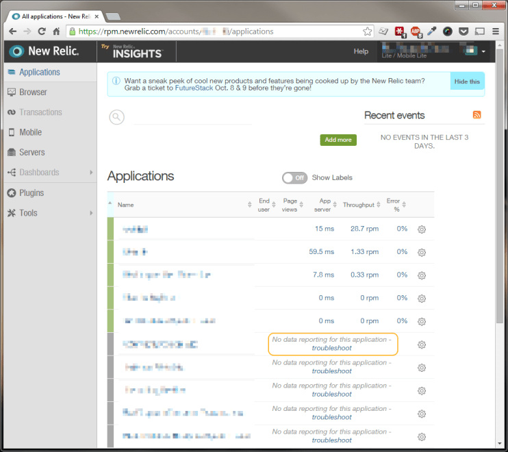 New Relic Application Dashboard