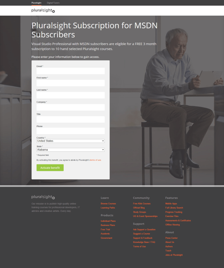 Pluralsight's MSDN signup page