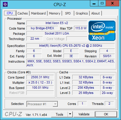 CPU-Z results for an Amazon EC2 m3.large