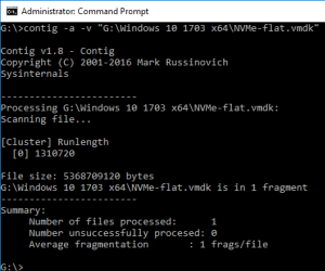 Windows command prompt contig showing 1 segment