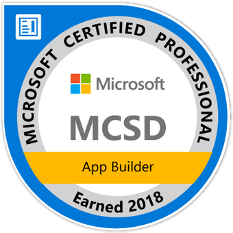 Microsoft Certified Professional, MCSD, App Builder Earned 2018
