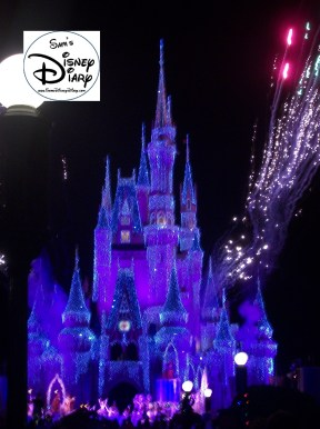 Cinderella Castle alive with Holiday lights during the Christmas Party