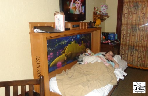 The Fold-Down Bed is perfect, and themed to match the Alligator Bayou, complete with glow in the dark stars.