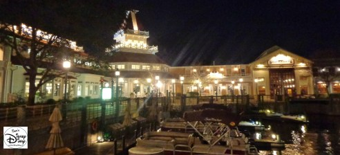 The Port Orleans Riverside marina at Night