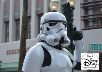 """""""Legends of the Force"""" Motorcade and Celebrity Welcome, A storm trooper stands guard next to Darth Vader"""