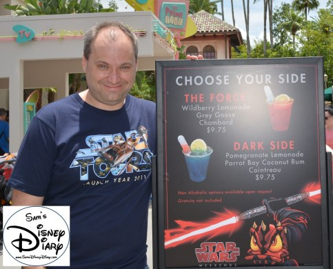 New for Star Wars Weekend 2013, Choose Your Side. The Force (Wildberry Lemonade, Grey Goose and Chambord). or the Dark Side (Pomegranate Lemonade, Coconut Rum and Cointreau) I'll have.... Both ;-)
