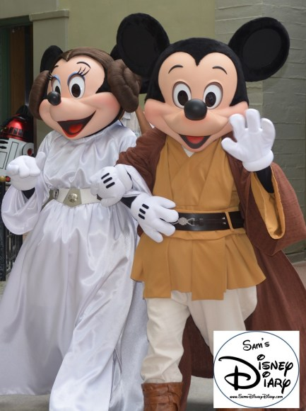 Jedi Mickey and Princess Minnie head to the Meet and Great Location during Star Wars Weekend 2013