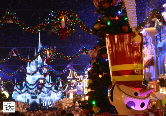 Snow on Main Street during Mickey's Very Merry Christmas Party 2013