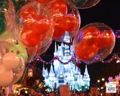 A few of Cinderella's Castle down Main Street during the Very Merry Christmas Party 2013