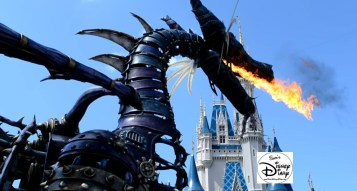 Fire Breathing Dragons in front of Cinderella's Castle. Perfect!