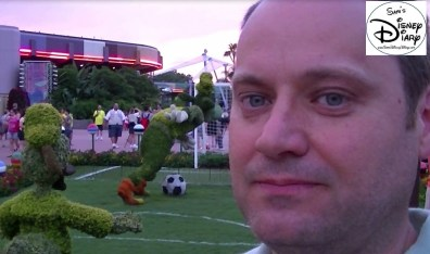 The Goofy Soccer Topiary directs everyone to the FIFA World cup headquarters, great hold over from Flower and Garden.