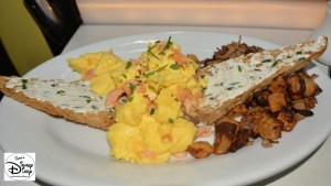 Star Wars Weekend Galactic Breakfast. The Dune Sea (House Smoked Salmon Scrambled Eggs, Wild Mushroom Potato Hash with Multi Grain Toast Slathered with Goat Cheese Butter