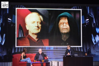 Amy Allen, Ian McDiarmid and James Arnold Taylor watch the screens during Stars of the Saga #SWW2015