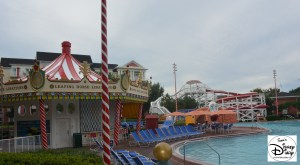 Theme is everywhere at the Walt Disney World Boardwalk - and the Luna Park Feature Swimming pool is no Exception