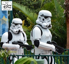 """Star Wars Weekends 2016 - Stormtroopers Backstage prep for """"A Galaxy Far, Far Away"""" stage show."""