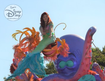 Ariel, atop the Sebastian's Calypso Carnival Float during Mickey's Soundsational Parade