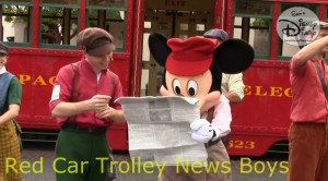 SamsDisneyDiary 112: DCA Red Car Trolley News Boys with Mikey Mouse