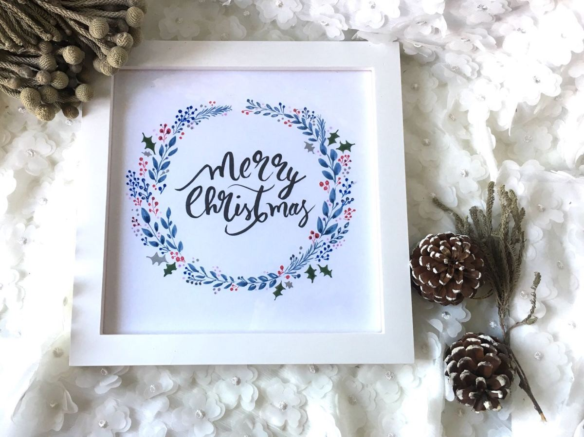Brush Pen Christmas Wreath Workshop 日系聖誕花環工作坊