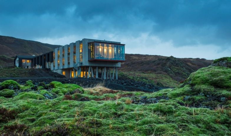 Ion luxury adventure hotel, sitting between lush forests and volcanoes, you can trek outside into the Icelandic Terrain and even see the Northern lights