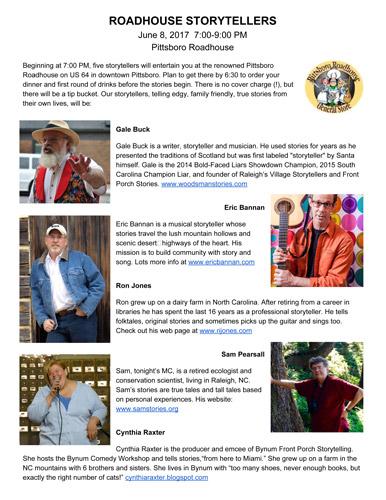 Roadhouse Storytellers Gale Buck Eric Bannan Ron Jones Sam Pearsall Cynthia Raxter June 2017