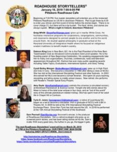 Roadhouse Storytellers event January 2019 Pittsboro NC storytelling