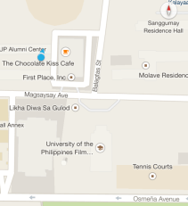 Its in front of the UP film center and near The Chocolate Kiss Cafe