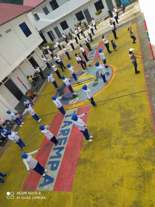 New Normal, Danlanal Tarempa Bersama Seluruh Prajurit dan Ibu Jalasenastri Olahraga Bersama