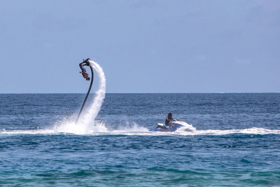 Fly boarding in the Maldives