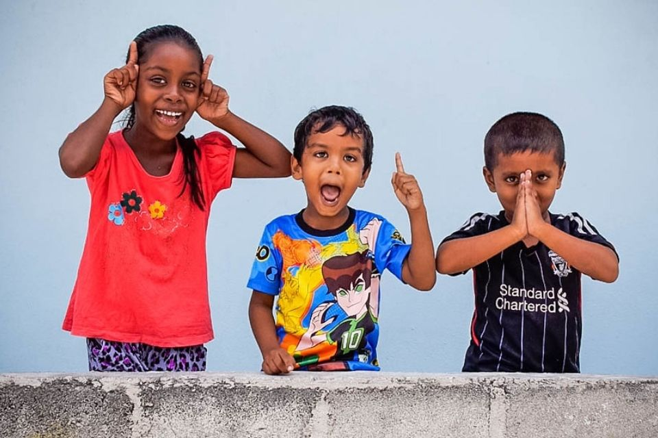 Kids cheering on Huraa Island - Full Day Maldives Adventure Trip