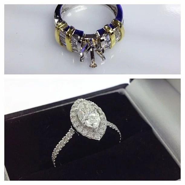 Redesign Marquise Diamond Halo Engagement Ring Samuel