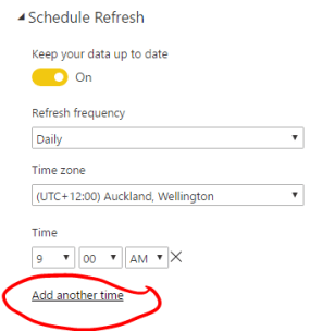 Scheduling a different time for a refresh