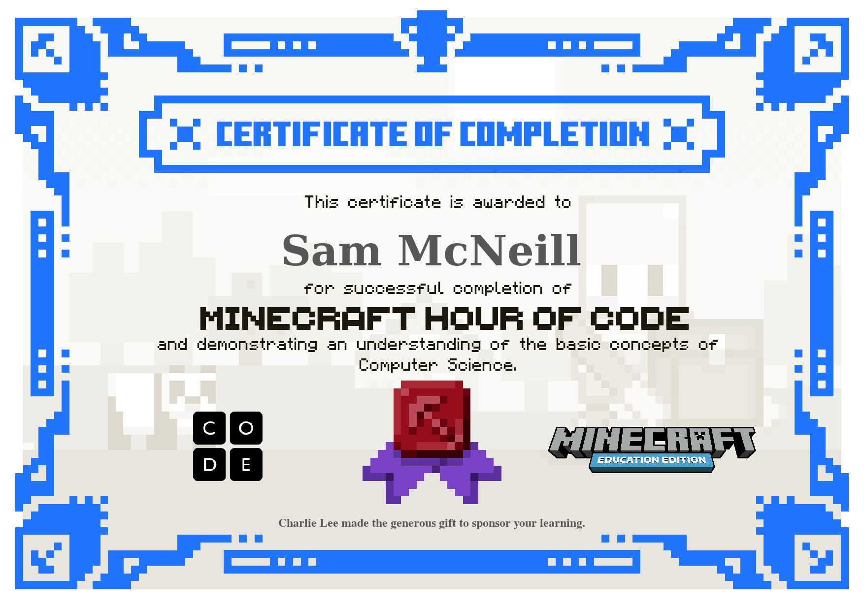 Hour Of Code With Minecraft: Education Edition – SamuelMcNeill.com