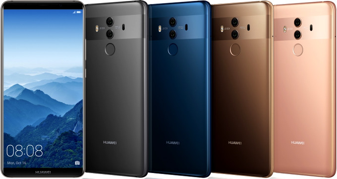 Huawei Mate 10 phone in various colours