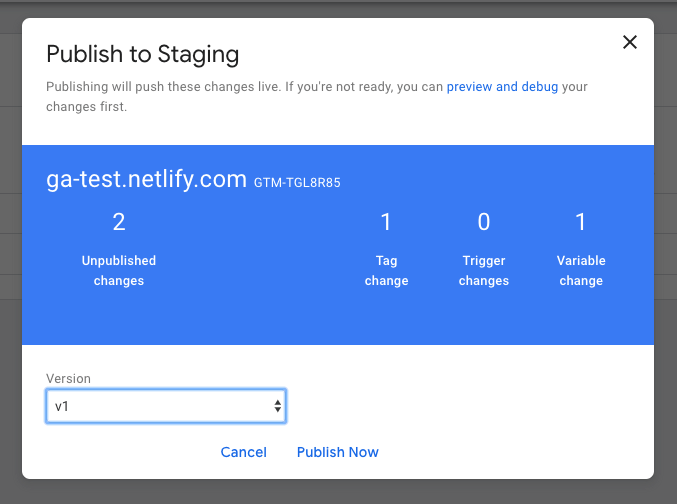 GTM - Publish to Staging