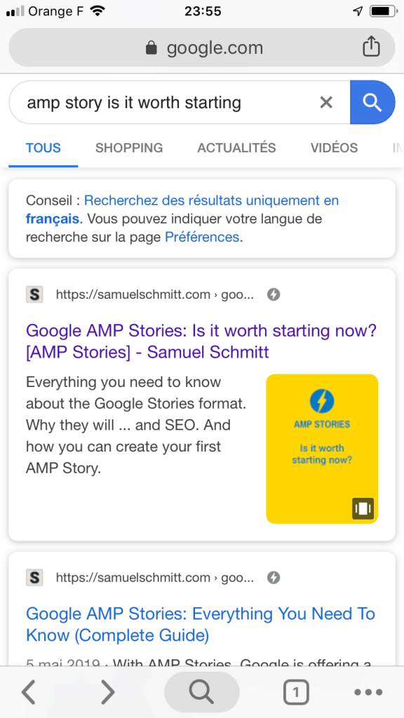 Google AMP Stories display in the organic search page listing