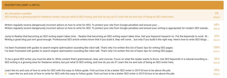 Free SEO Tool thruuu - description analysis