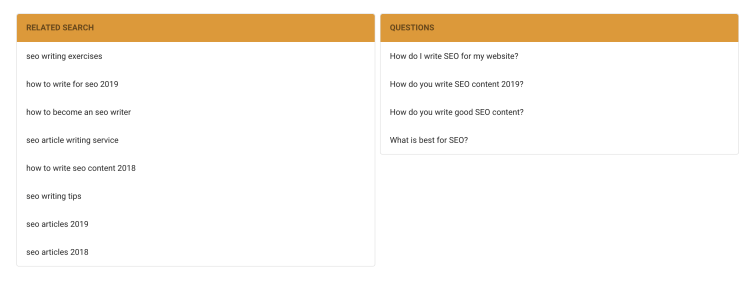 Free SEO Tool thruuu - related search and questions