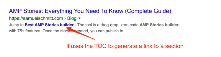 Google displays the TOC in the SERP