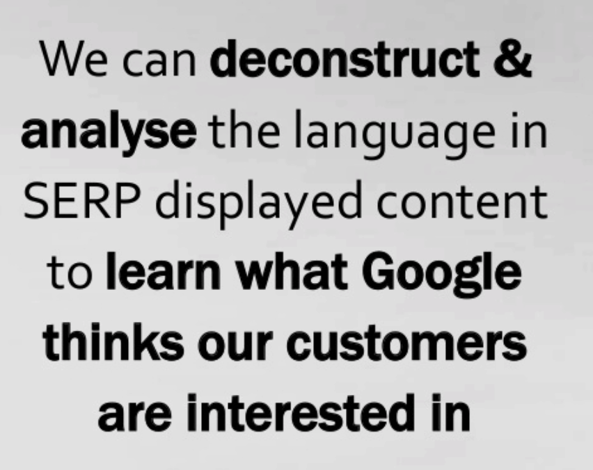 Comprendre le SERP - Citation de Rory Truesdale - Mining the SERP for SEO, Content & Customer Insights