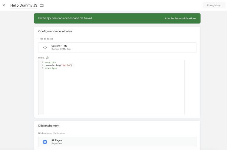 Créez une nouvelle balise de type Custom HTML