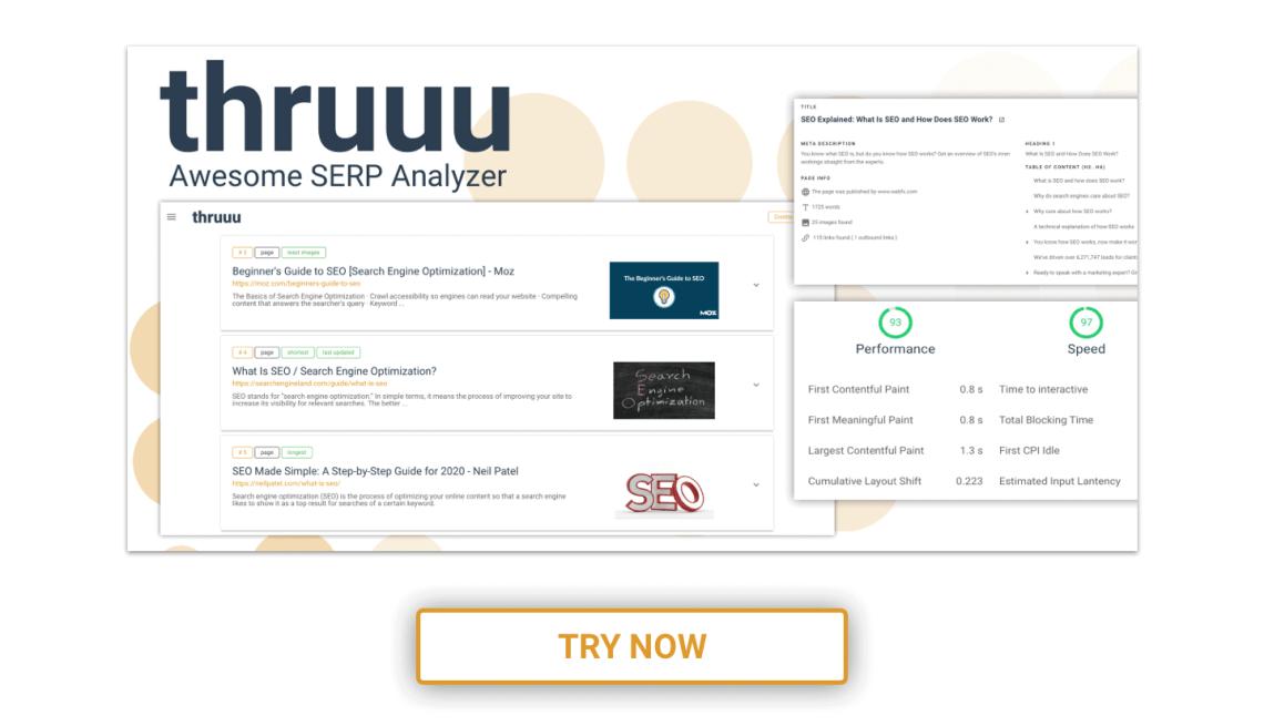 Avec thruuu, un analyseur SERP gratuit, vous obtiendrez un aperçu complet des pages du résultat de la recherche Google.