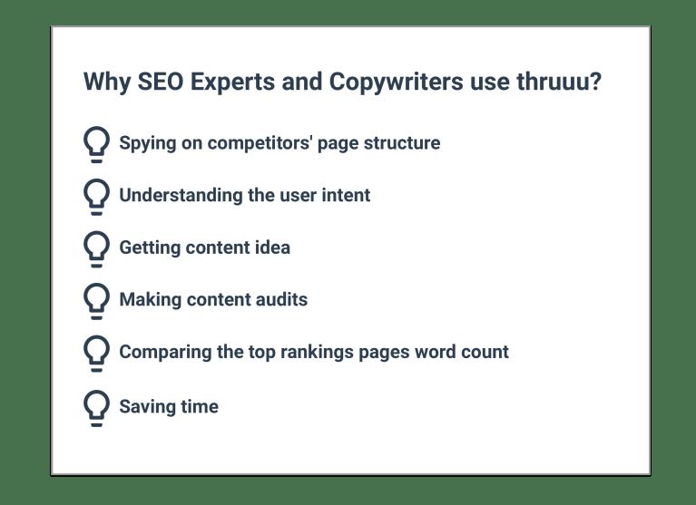 Why SEO experts and copywriters use thruuu