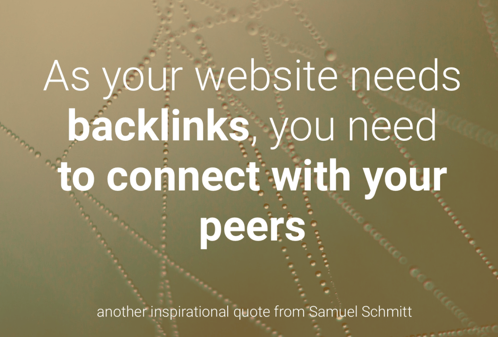 To have a successful website, you cannot be alone. As your website needs backlinks, you need to connect with your peers.