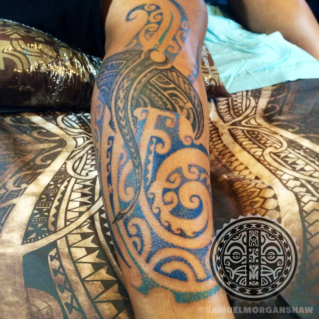 Mixed Polynesian style tattoo by Samuel Morgan Shaw